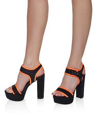 Sporty Platform Contrast Trim Block Heel Sandals,NEON ORANGE,large