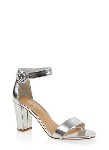 Single Band Block Heel Sandals,SILVER,large