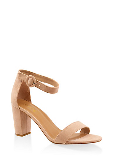 Single Band Block Heel Sandals,NUDE,large