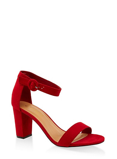 Single Band Block Heel Sandals,RED S,large