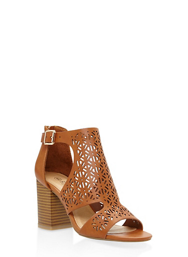 Cut Out Mid Heel Sandals | Tuggl