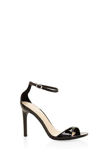 Ankle Strap High Heel Sandals - BLACK - 3111004068464