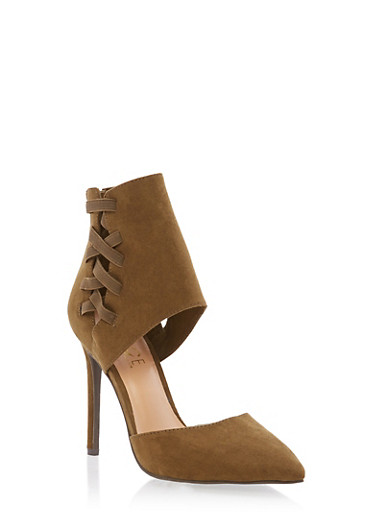 Lace Up High Heel Cut Out Pumps,OLIVE F/S,large