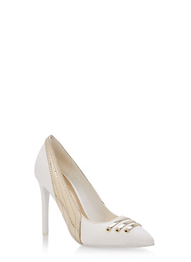 Athletic Pointed Toe High Heel Pumps,WHITE CRP,large