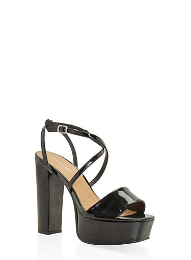 Criss Cross Strap High Heel Platform Sandals - BLACK - 3111014062360