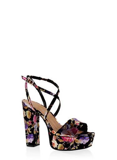 Criss Cross Strap Platform High Heel Sandals,BLACK,large