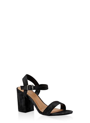 Ankle Strap Block Heel Sandals,BLACK DENIM,large