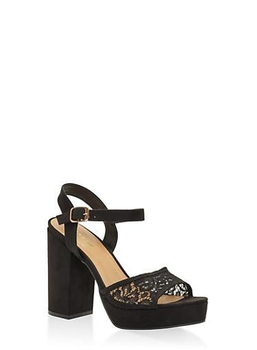 Lace Strap High Heel Platform Sandals,BLACK,large
