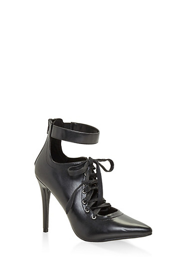 Lace Up Pointed Toe Pumps,BLACK,large