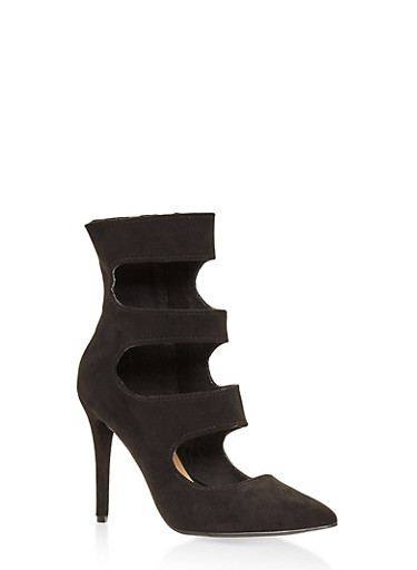Cut Out High Heel Booties,BLACK,large