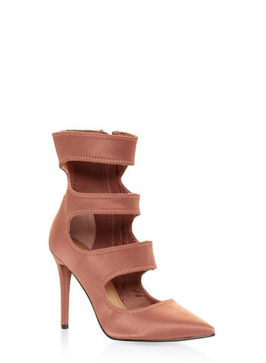 Cut Out High Heel Booties,COPPER,large
