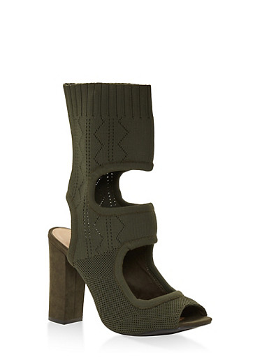 Stretch Knit Cut Out High Heel Booties,OLIVE,large