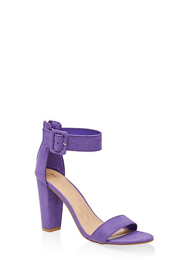 Buckle Ankle Strap High Heel Sandals,PURPLE S,large