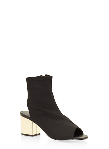 Mesh Cut Out Block Heel Booties,BLACK,large