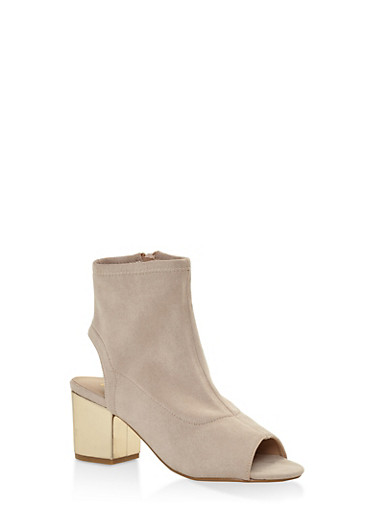 Mesh Cut Out Block Heel Booties,IVORY,large