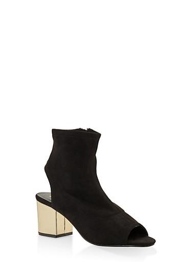 Mesh Cut Out Block Heel Booties,BLACK SUEDE,large