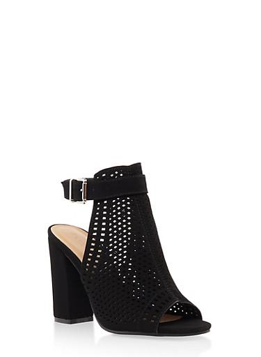 Laser Cut Block Heel Mule Sandals,BLACK,large
