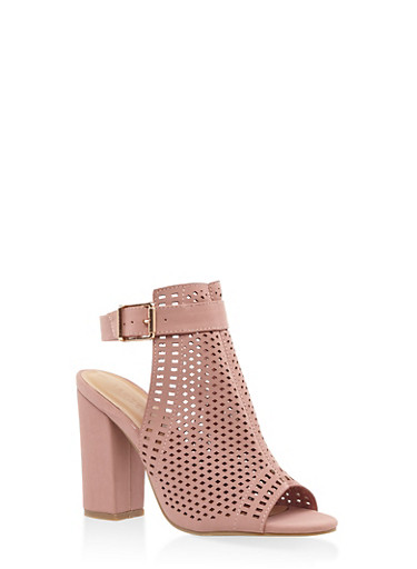 Laser Cut Block Heel Mule Sandals,MAUVE,large