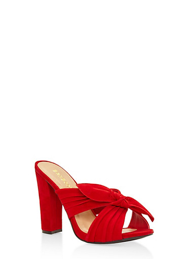 Criss Cross Bow High Heel Mules,RED,large