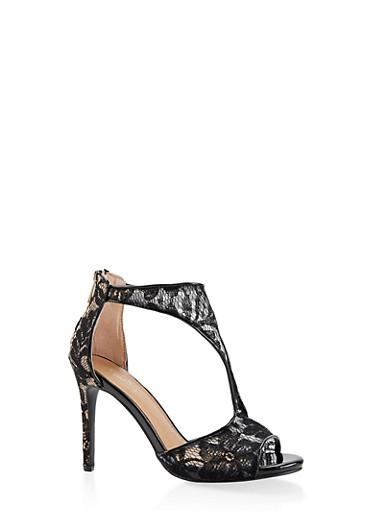 Lace T Strap High Heel Sandals,BLACK,large