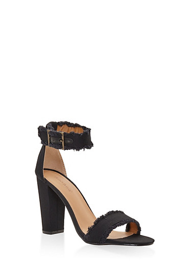 Frayed Ankle Strap High Heel Sandals,BLACK,large