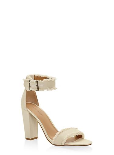 Frayed Ankle Strap High Heel Sandals - BEIGE - 3111014067267