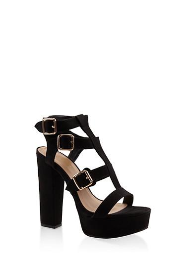 Gladiator High Heel Platform Sandals,BLACK,large