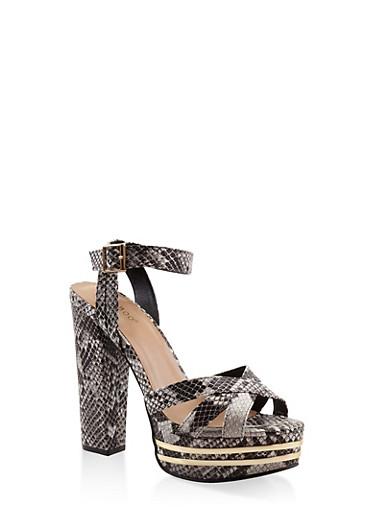 Criss Cross Strap High Heel Platform Sandals,BLACK,large