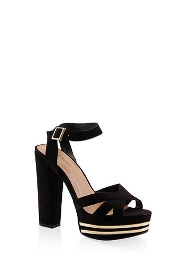Criss Cross Strap High Heel Platform Sandals - BLACK SUEDE - 3111014068682