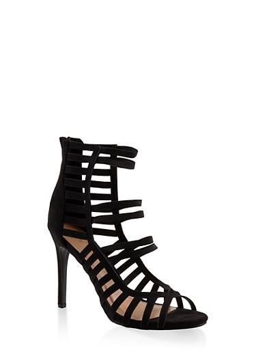 Caged High Heel Sandals,BLACK,large
