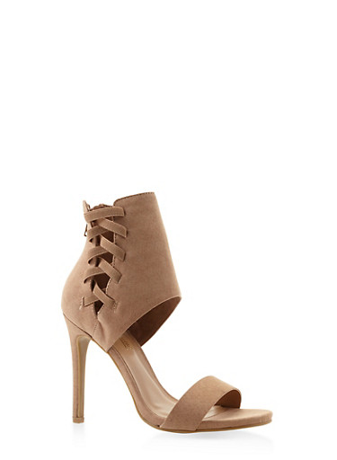 Lace Up Side High Heel Sandals,CAMEL,large