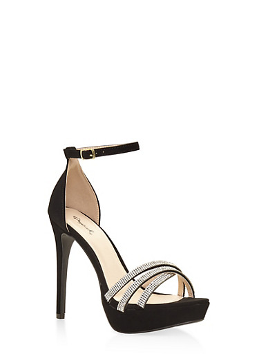 Rhinestone Criss Cross Strappy High Heel Sandals,BLACK,large