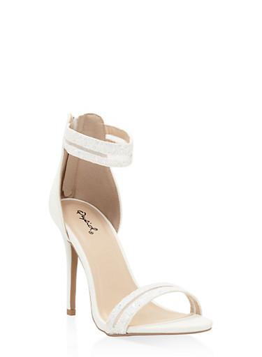 Glitter Shadow Stripe High Heel Sandals,WHITE,large