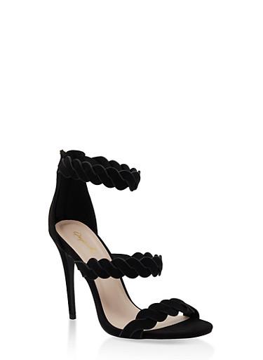 Twisted Strap High Heel Sandals,BLACK SUEDE,large