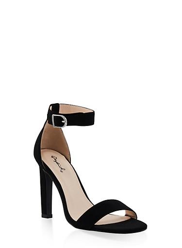 Ankle Strap High Heel Sandals   3111029914877,BLACK SUEDE,large
