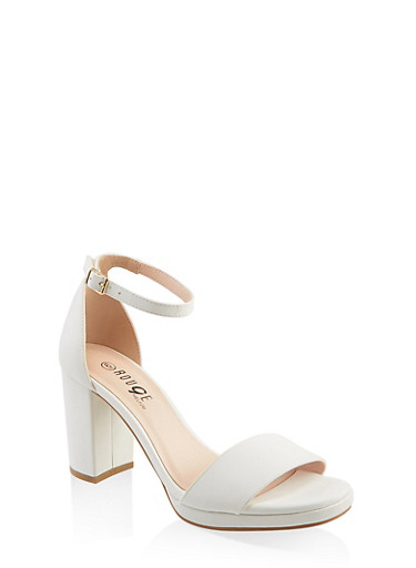 One Band Buckle Ankle Strap High Heel Sandals,WHITE,large