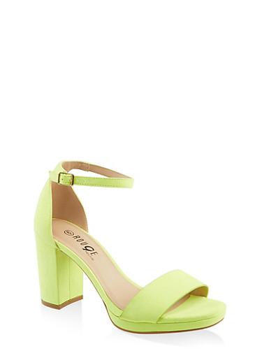 One Band Buckle Ankle Strap High Heel Sandals,NEON YELLOW,large