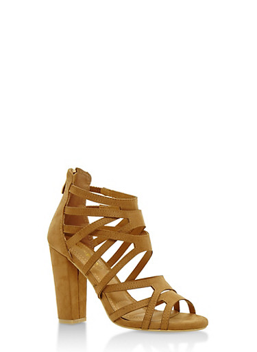 Strappy Open Toe High Heel Sandals,BEIGE,large