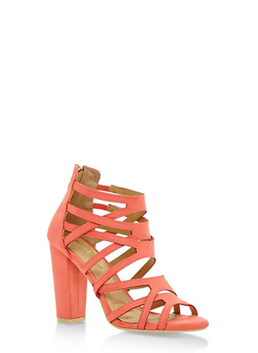 Strappy Open Toe High Heel Sandals,CORAL,large