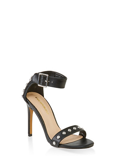Studded Ankle Strap High Heel Sandals,BLACK,large