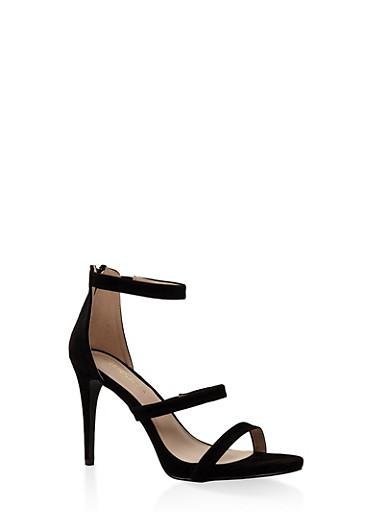 3 Strap High Heel Sandals,BLACK,large