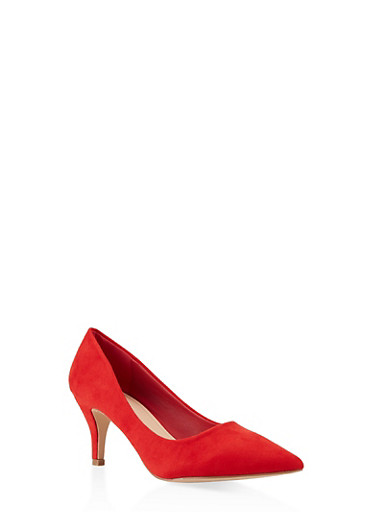 Pointed Toe Mid Heel Pumps,RED,large