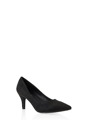 Pointed Toe Mid Heel Pumps,BLACK SUEDE,large