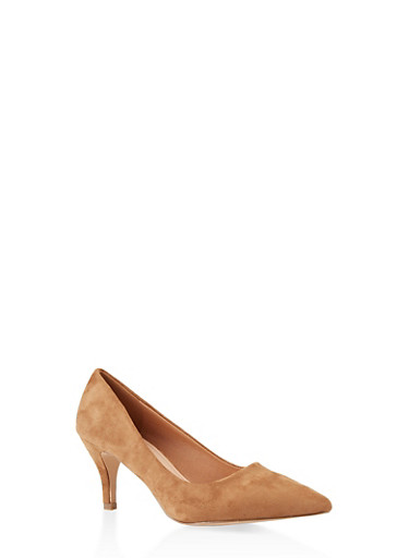 Pointed Toe Mid Heel Pumps,CAMEL S,large