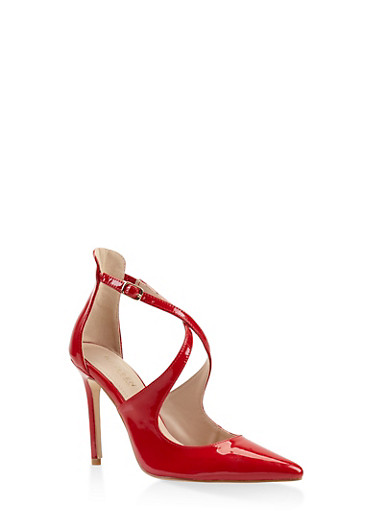 Criss Cross Strap Pumps,RED,large