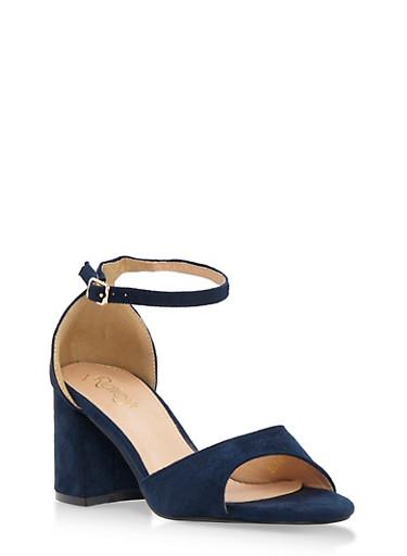 Faux Suede Open Toe Block Heel Sandals,NAVY F/S,large