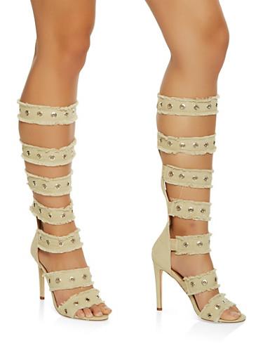 Frayed High Heel Gladiator Sandals,NUDE,large
