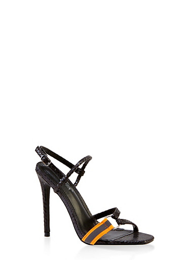Multi Strap Slingback High Heel Sandals,BLACK,large