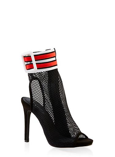 Mesh Ankle Strap Peep Toe Booties,BLACK,large