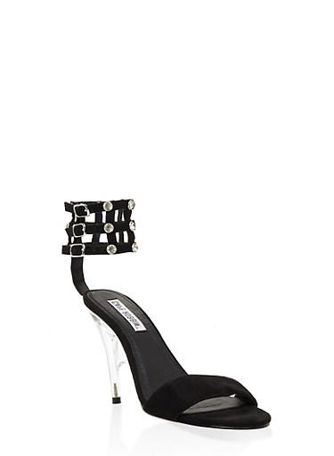 Rhinestone Caged High Heel Sandals,BLACK,large